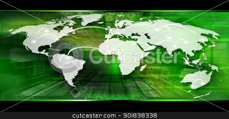 Global Business Concept stock photo, Background with map globe, global business connection   by catalby