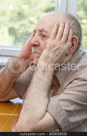 senior man thinking stock photo, portrait sadness senior man thinking by manaemedia