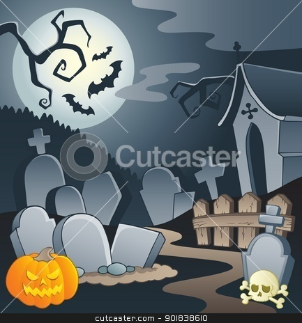 Cemetery theme image 1 stock vector clipart, Cemetery theme image 1 - vector illustration. by Klara Viskova