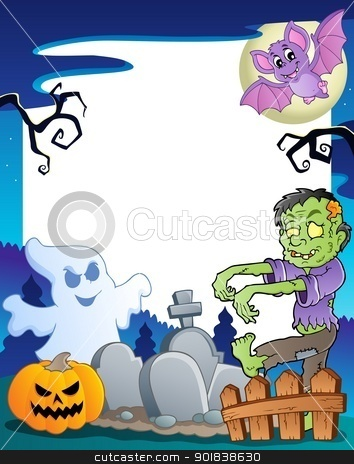 Frame with Halloween topic 7 stock vector clipart, Frame with Halloween topic 7 - vector illustration. by Klara Viskova