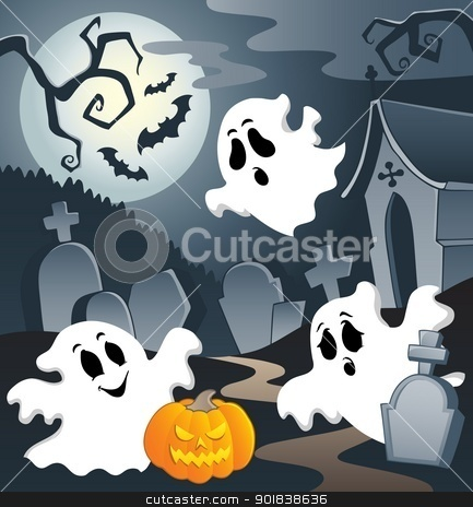 Ghost theme image 3 stock vector clipart, Ghost theme image 3 - vector illustration. by Klara Viskova