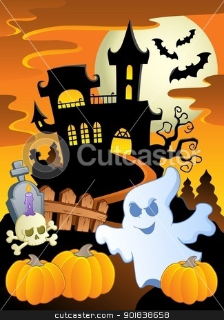 Scene with Halloween theme 5 stock vector clipart, Scene with Halloween theme 5 - vector illustration. by Klara Viskova