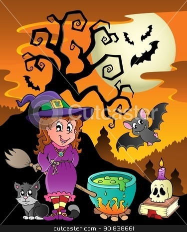 Scene with Halloween theme 8 stock vector clipart, Scene with Halloween theme 8 - vector illustration. by Klara Viskova