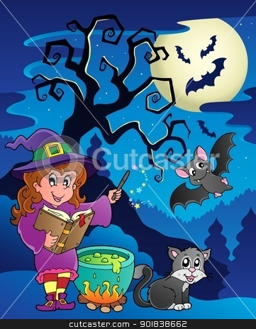 Scene with Halloween theme 9 stock vector clipart, Scene with Halloween theme 9 - vector illustration. by Klara Viskova