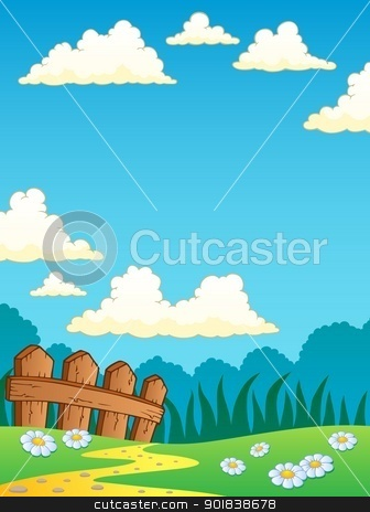 Spring theme landscape 4 stock vector clipart, Spring theme landscape 4 - vector illustration. by Klara Viskova