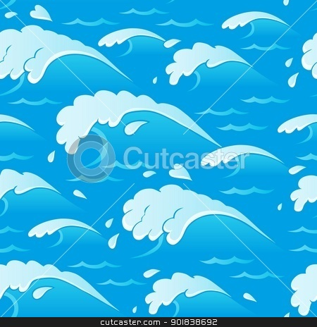 Waves theme seamless background 1 stock vector clipart, Waves theme seamless background 1 - vector illustration. by Klara Viskova