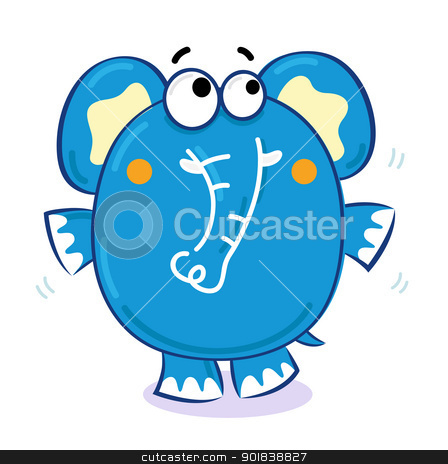 Cute elephant isolated on white stock vector clipart, Elephant in standing pose. Vector cartoon Illustration by BEEANDGLOW