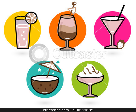Summer retro colorful drinks isolated on white stock vector clipart, Vibrant retro drinks. Vector icons collection by Jana Guothova