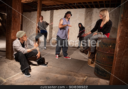 Group of Cool Hip Hop Dancers stock photo, Cool Hispanic male with group of five break dancers  by Scott Griessel