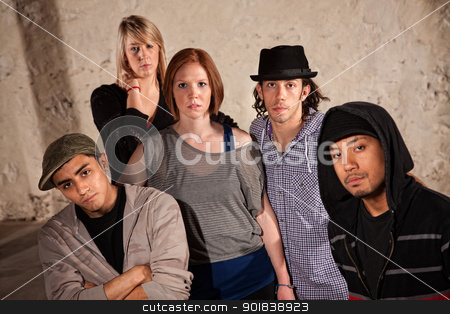 Five Stylish Hip Hop Dancers stock photo, Five stylish hip hop dancers posing in urban setting by Scott Griessel