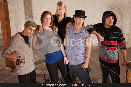 Five Friends Close Together stock photo, Five cool friends leaning on each other by Scott Griessel