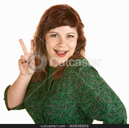 Woman With Peace Gesture stock photo, Pretty young European woman with peace hand gesture by Scott Griessel