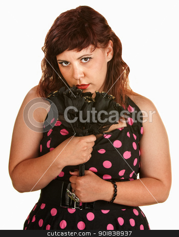 Sad Woman with Black Roses stock photo, Sad young white woman holding black roses by Scott Griessel