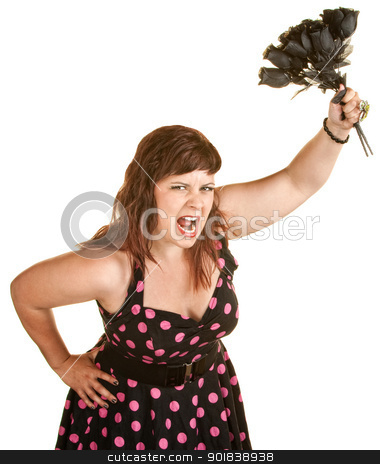 Lady in Pink Polka Dot Dress stock photo, Angry woman in pink polka dot dress holding black roses by Scott Griessel