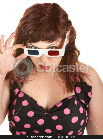 Skeptical Woman With 3D Glasses stock photo, Skeptical woman with 3D glasses over white background by Scott Griessel