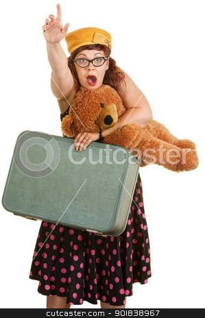 Nervous Woman Pointing stock photo, Retro style woman waving hand with suitcase and teddy bear by Scott Griessel