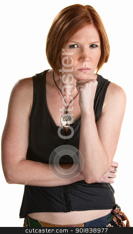 Cute Young Woman stock photo, Mad young European woman with chin on fist by Scott Griessel