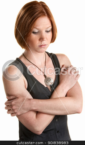 Lonely Caucasian Woman stock photo, Sad young white woman over isolated background by Scott Griessel