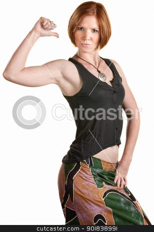 Confident Fit Woman  stock photo, Fit young woman points to her self with thumb by Scott Griessel