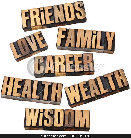 career, family, health and other values stock photo, career, family, wealth, love, friends, health, wisdom  - list of popular life values  - a collage of isolated words in vintage letterpress wood type by Marek Uliasz