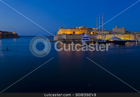 Fort St. Angelo in the evening - Malta stock photo, Evening lights on the Grand Harbour and Fort St. Angelo in Malta by Lenise Zerafa