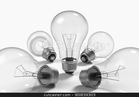 Lamps on white background stock photo, 3d model rendering of lamps on white background by mrdoggs