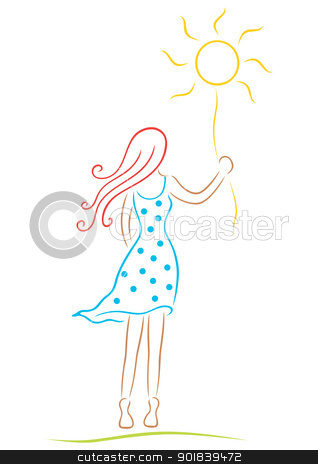 Woman with sun stock vector clipart, Symbol of woman with abstract shape of sun by Oxygen64