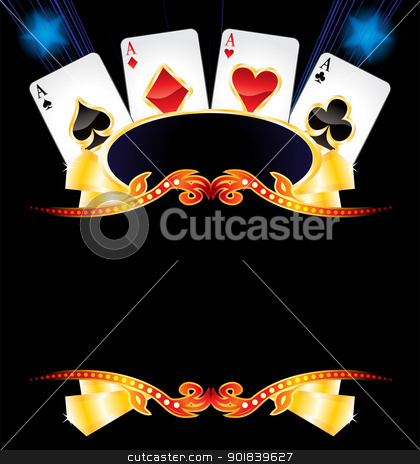 Casino neon stock vector clipart, Cards with poker symbols over empty gold frame by oxygen64