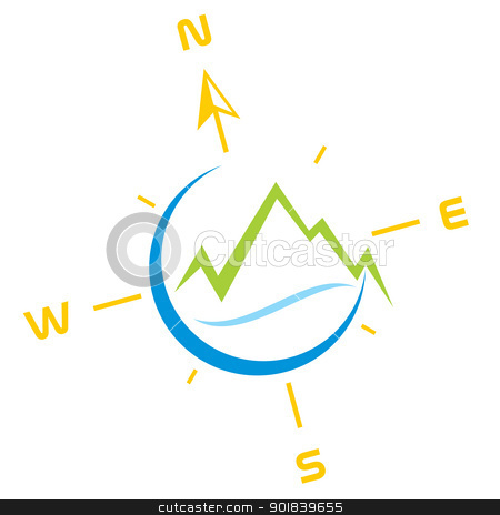 Adventure symbol stock vector clipart, Symbol of mountains with river and compass by Oxygen64