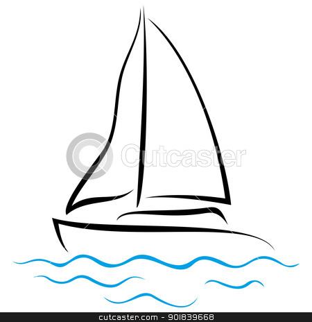 Emblem of Yacht stock vector clipart, Symbol of ship sailing on the sea by Oxygen64