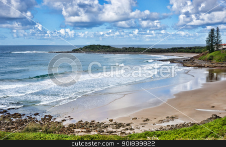 beach at yamba stock photo, photo of the beach at yamba nsw australia by Phil Morley