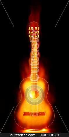 flaming guitar on fire stock photo, image of an acoustic guitar on fire by Phil Morley