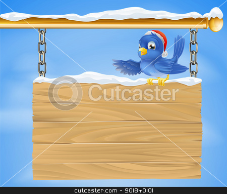 Santa hat bluebird snowy sign stock vector clipart, Cartoon happy smiling bluebird wearing a Christmas Santa hat sat on a snowy sign by Christos Georghiou