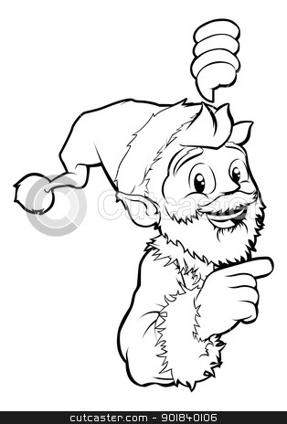 Santa pointing Christmas illustration stock vector clipart, Black and white Santa pointing Christmas illustration by Christos Georghiou