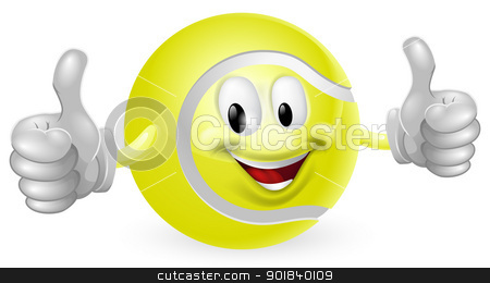 Tennis Ball Mascot stock vector clipart, Illustration of a cute happy tennis ball mascot man smiling and giving a thumbs up by Christos Georghiou