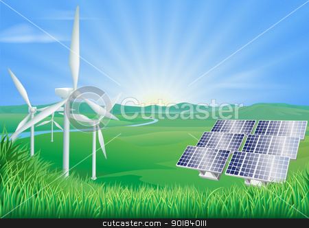 Renewable energy illustration stock vector clipart, Illustration of wind turbines and solar panels generating renewable energy by Christos Georghiou