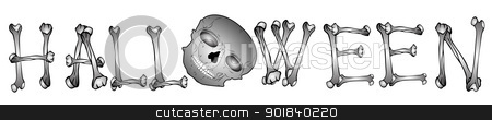 text_halloween_01 stock vector clipart, Illustration - text from various bones by Siloto