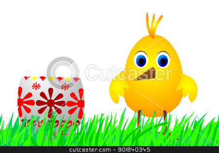 Easter egg and chick stock photo, Illustration of the chick and Easter egg - cartoon drawing by Siloto