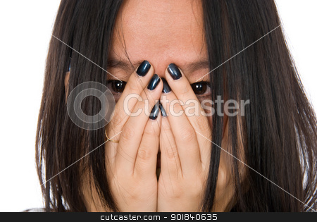 Close-up portrait girl in despair shuts face with hands stock photo, Close-up portrait girl in despair shuts face with hands.Isolated on white background by Vadim