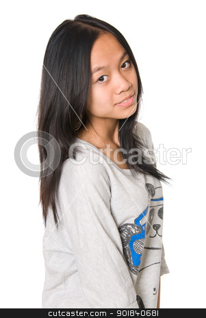 Portrait of quiet, happy girl stock photo, Portrait of quiet, happy girl.Asian girl on white background. by Vadim