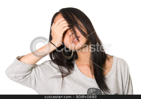 Portrait of tired girl blindly with a hand  stock photo, Portrait of tired girl blindly with a hand on a forehead.On white background. by Vadim