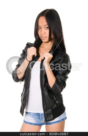 Portrait of brunette in a leather jacket stock photo, Portrait of brunette in a leather jacket.Hands hold a collar.Asian girl on a white background by Vadim