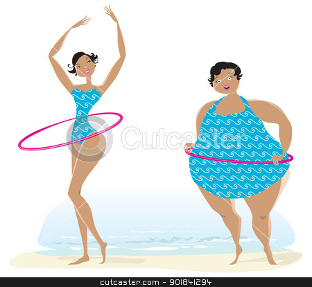 Slim and big girls exercising stock vector clipart, Slim and fat girls making exercises with bow on the beach by Vanda Grigorovic