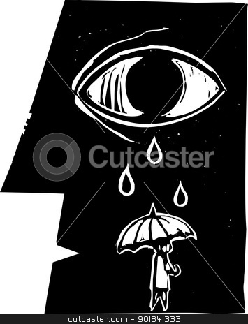Umbrella Tears stock vector clipart, Tears from a profile of a face fall on an umbrella carrying person. by Jeffrey Thompson