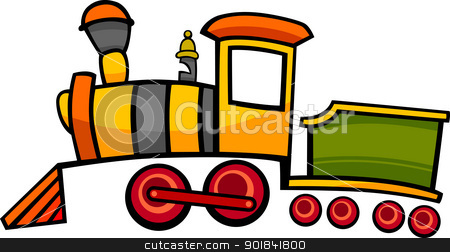 cartoon train or locomotive stock vector clipart, cartoon illustration of cute colorful steam engine locomotive or train by Igor Zakowski