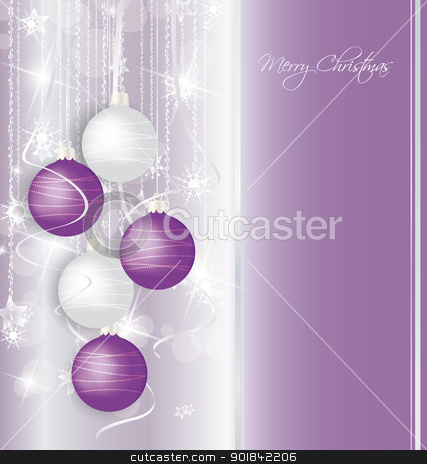 Christmas background stock vector clipart, elegant Christmas background with purple and white  balls by Miroslava Hlavacova