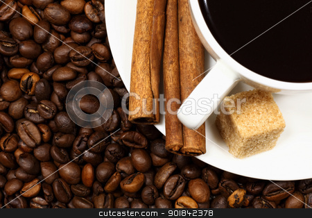Coffee beans and white cup stock photo, Image of coffee beans and white cup by Sergey Nivens