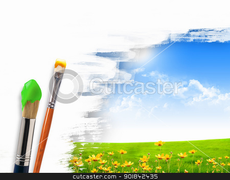 Paint brushes and landscape image stock photo, Picture of sunny nature landscape and brushes by Sergey Nivens