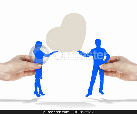 Man and woman in love stock photo, Silouettes of man and woman in love by Sergey Nivens