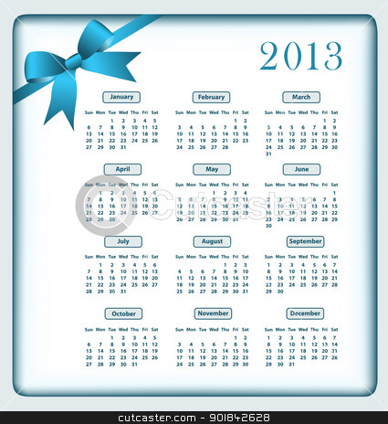 Calendar 2013 and bow stock vector clipart, Calendar 2013 year with a blue bow. by toots77